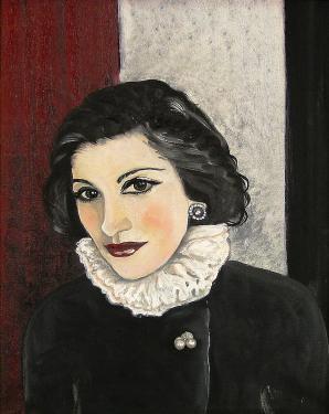 Portrait sur toile de Coco Chanel . Vendu aux enchères à Drouot par la maison Rossini
